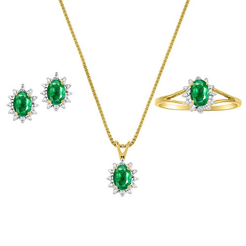 Genuine Natural Emerald & Diamond Pendant, Earrings & Ring Set in 14k Yellow Gold Plated silver with Chain and Gift Box