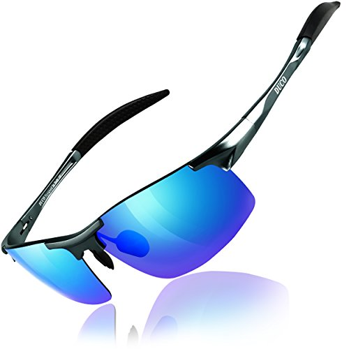 DUCO Mens Sports Polarized Sunglasses UV Protection Sunglasses for Men 8177s(Gunmetal Frame Revo Blue Lens)