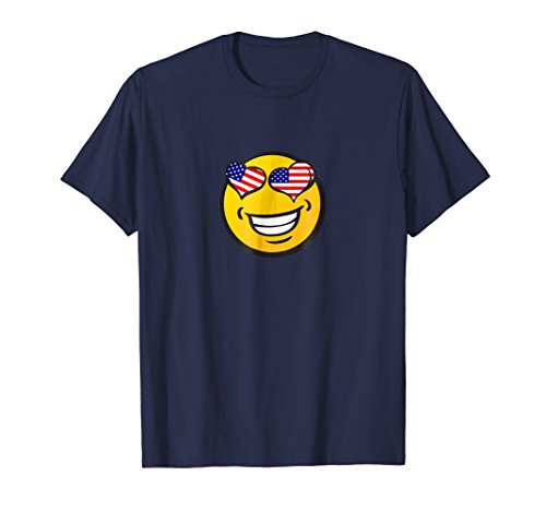 US Flag Fourth of July Patriot Emoji T-Shirt 4th of July -