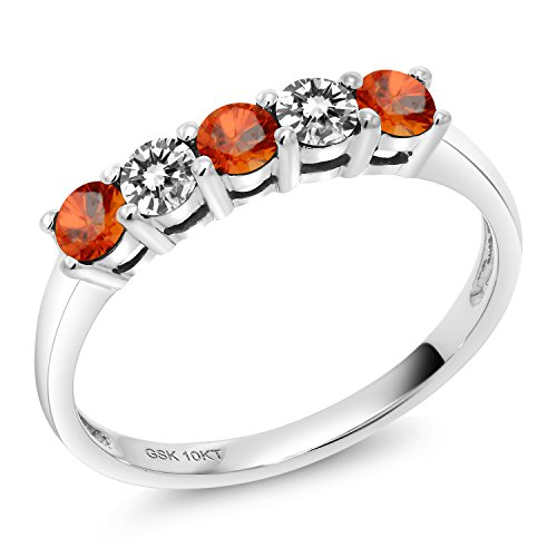 Gem Stone King 0.59 Ct Round Orange Sapphire White Diamond 10K White Gold 5 Stone Anniversary Band Ring (Size 9)