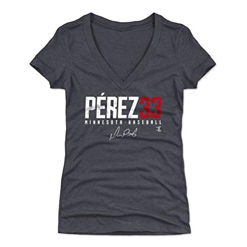 Perez Jersey - 500 LEVEL Martin Perez Women's V-Neck Shirt (XX-Large, Tri Navy) - Minnesota Baseball Shirt for Women - Martin Perez Elite R WHT