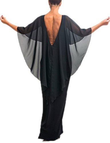 好意マートヒゲクジラ(ウォ2U)Woo2u レディース エレガント バットスリーブ シフォン 披露宴 通勤 お呼ばれ ビーチ ドレス 二次会 パーティー カジュアル ロング丈 フォーマル ワンピース