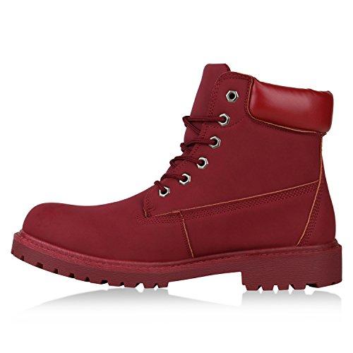 Stiefelparadies Herren Worker Boots Profilsohle Stiefeletten Gefütterte Outdoor Schuhe Schnürboots Wildleder-Optik Nieten Camouflage Flandell Rot