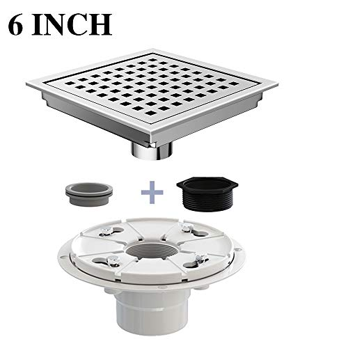 Ushower Square Drain for Shower 6 Inch with Drain Base Flange, Grate Cover Square Floor Drain Stainless Steel Brushed Nickel with Threaded Adapter, Rubber Coupler, Hair Strainer for Bathroom Kitchen (Nickel Shower Strainer)