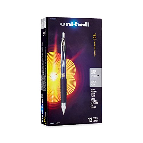 uni-ball 207 Retractable Gel Pens, Ultra Micro Point (0.38mm), Black, 12 Count (1790922)