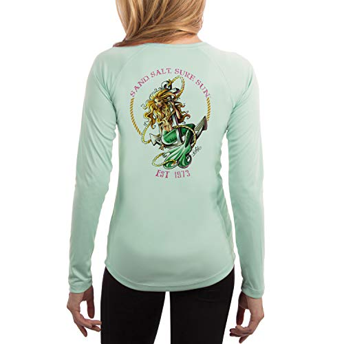 - SAND.SALT.SURF.SUN. Mermaid Women's UPF 50+ Long Sleeve T-Shirt Medium Seagrass