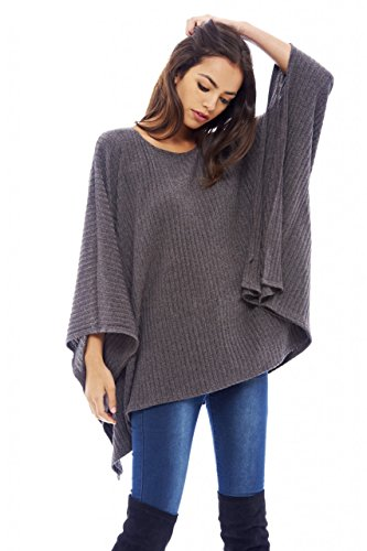 AX Paris Women's Ribbed Batwing Poncho(Grey, Size:S/M) (Ribbed Poncho)