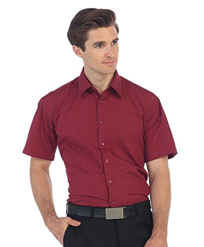 - Gioberti Men's Short Sleeve Solid Dress Shirt, Burgundy, M