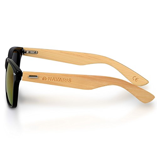 étui soleil Noir hommes en En bambou Branches Lunettes Lunettes de UV400 bois femmes Jaune couleurs en bois Navaris différentes Ezq6BTn