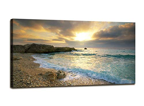 Canvas wall art Sunset Beach Blue Waves Ocean Art Large Modern Artwork Canvas Prints Contemporary Pictures Framed Ready to Hang for Home Decoration(24inx48in) (Ocean Pictures Framed)