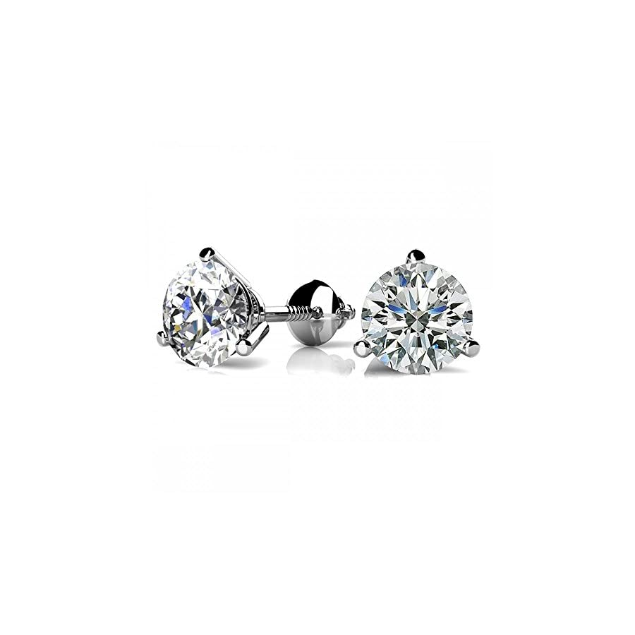 1/4 2 Carat GIA Certified Round Diamond Stud Earrings 3 Prong Screw Back (I J Color VS1 VS2 Clarity)