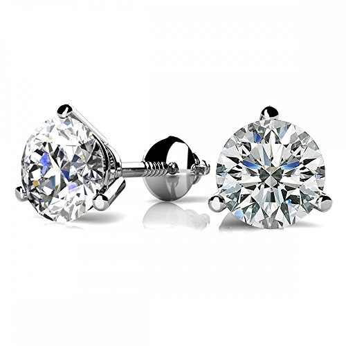 White Gold Three Prong (1 Carat GIA Certified Round Diamond Stud Earrings 14K White Gold 3 Prong Screw Back D-E VS1-VS2)