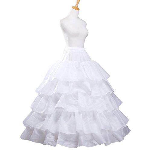 Petticoat Skirt for Girls and Women Puffy Ball Gown Slip 4 Hoop 5 Ruffles Crinoline Underskirt for Wedding Dress