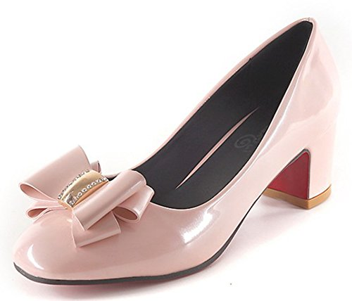 IDIFU Womens Elegant Mid Chunky Heels Slip On Pumps With Bows Pink 8Dy6lBjU