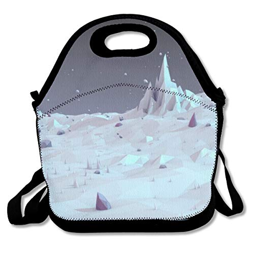 Bmeary White Landscape Low Poly Wallpaper Customized Insulated Neoprene Lunch Bag Unisex Suitable for Office Workers