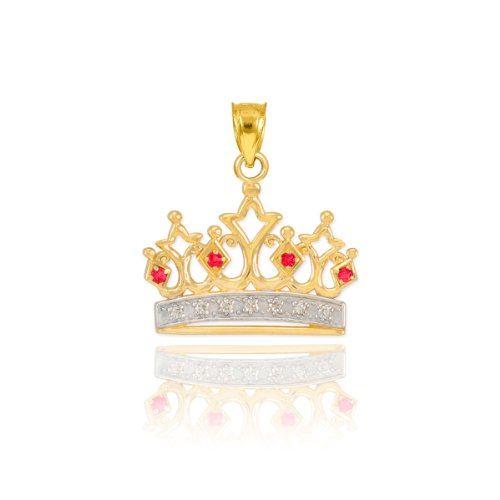 Fine 14k Yellow Gold Ruby and Diamond Royal Crown Tiara Bracelet Charm ()