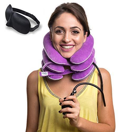 DaviSMART Cervical Neck Traction ✮ Effective Neck Pain Remedy at Home ✮ Inflatable & Adjustable Neck Stretcher Collar Device + Eye Mask Bonus (Light Purple)