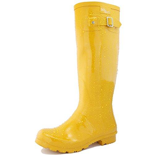DailyShoes Women's Knee High Round Toe Rain Boots, Yellow - 11 B(M) US