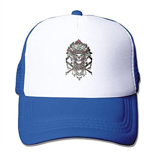 (Hizhogqul American Indian Skull Trucker Hat Unisex Adult Baseball Mesh Cap RoyalBlue)