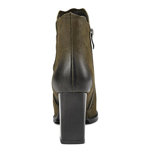 Boots 39 Comfortable Shoes wdjjjnnnv Thick Women Casual Side Elastic Retro Leather Zipper GREEN Ankle Short High Martin Heels nvRTptv