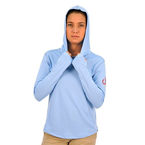 picture of Montauk Tackle Women's Performance L/S Hoodie Xl Bridge Hampton Sky Blue