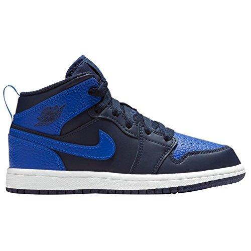 NIKE Jordan 1 MID (PS) Mens Fashion-Sneakers 640734-412_13.5C - Obsidian/Game Royal-Summit White by NIKE