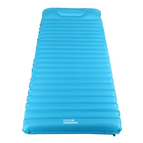 Camp Solutions Ultralight Sleeping Pad – 3.5 Thick Lightweight Air Mattress with Built in Pillow for Camping, Hiking and Backpacking