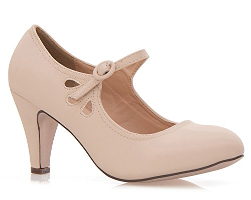 OLIVIA K Women's Kitten Heels Mary Jane Pumps - Adorable Vintage Shoes- Unique Round Toe Design With An Adjustable Strap,Nude Nubuck,6.5 B(M) US ()