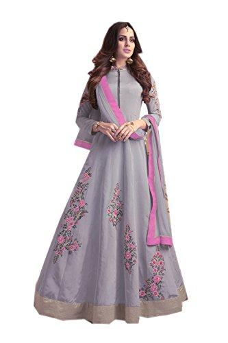 Indianfashion Store Indian Women Designer Partywear Ethnic Traditonal Gray Anarkali Salwar Kameez by Indianfashion Store