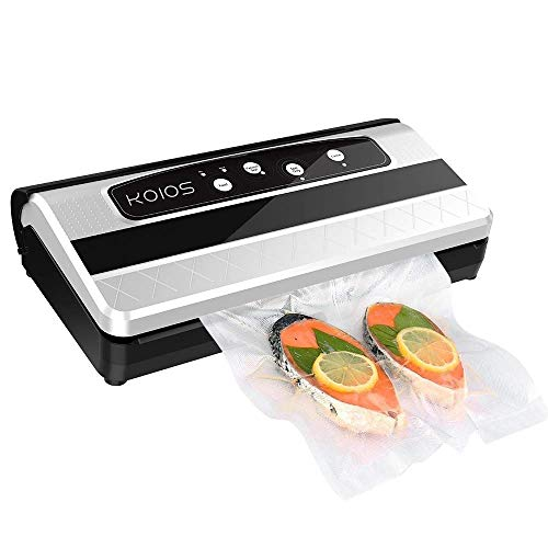 Enhanced KOIOS TVS-2150 Vacuum Sealer - 2 IN 1 Automatic Vacuum Sealing for Food Preservation - 10 Vacuum Sealer Bags | Roll Storage & One-shoot Cutter Bar | FRESH UP TO 5x Longer