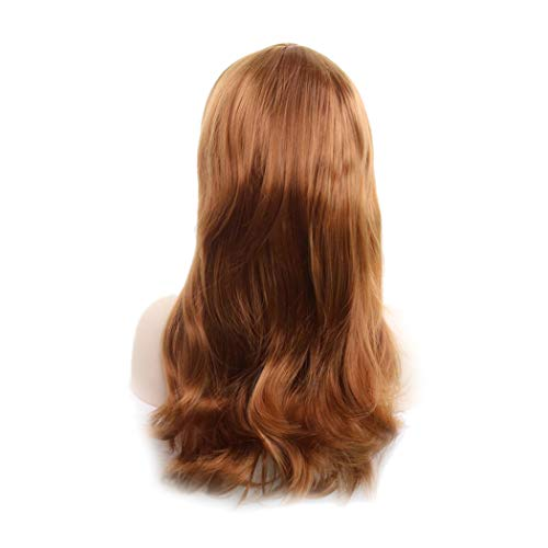 Womens Long Curly Wig, Halloween Cosplay Party Wavy Wig Heat Resistant Synthetic Full Hair Wig (Brown Gold) -