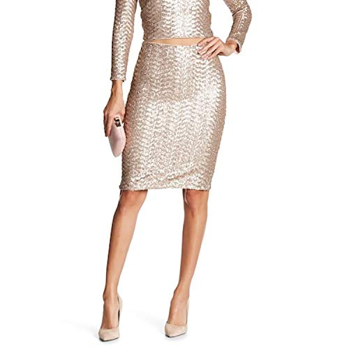 alice + olivia Womens Ramos Sequin Midi Skirt Nude Pink 4 (Olivia Dress Sequin Alice)