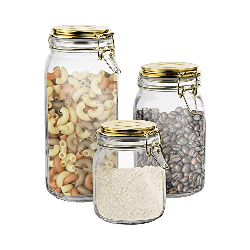 Style Setter Canister Set 3-Piece Glass Jars in 30oz, 50oz and 65oz Chic Design with Gold Lids for Cookies, Candy, Coffee, Flour, Sugar, Rice, Pasta, Cereal & More, Clear