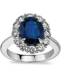 7.28 ct Oval Shape Sapphire And Diamond Engagement Ring in Platinum