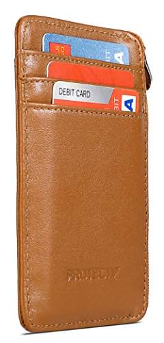 Protectif Leather RFID Blocking Front Pocket Wallet with Zipper, Card Sleeves and Id Window - Brown