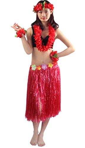 Good Quality 5pcs/set Adult Hawaiian Luau 60cm grass hula skirt -