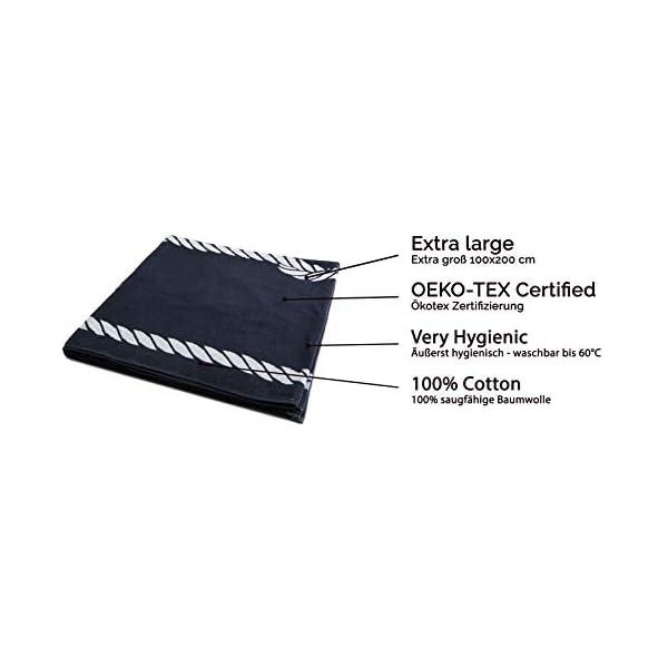 ZOLLNER Telo Mare, 100x200 cm, 100% Cotone, Blu Marino, Altri Colori 2 spesavip