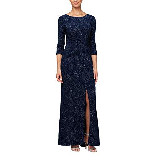 (Alex Evenings Women's Long Dress with Knot Front Detail (Petite and Regular), Navy, 10P)