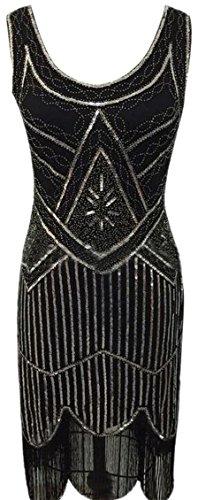 Kleid ausschnitt Low Quaste cut Jaycargogo Doppel Frauen Sleeveless perlen v 4 qx8TzwnP
