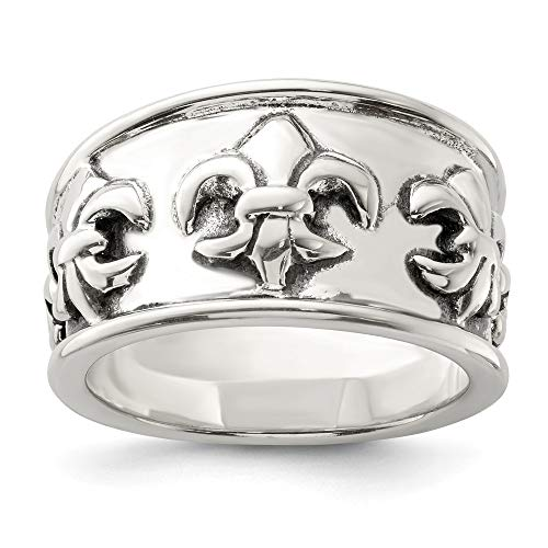 925 Sterling Silver Fleur De Lis Band Ring Size 8.00 Fine Jewelry Gifts For Women For -