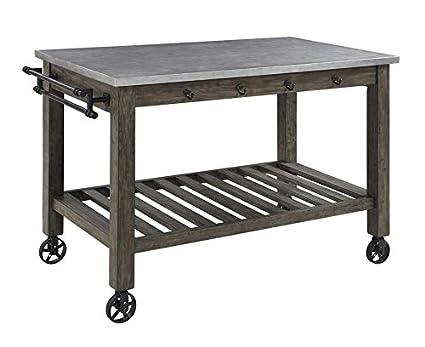 Kitchen Island Casters | Amazon Com Davenport 1 Shelf Kitchen Island With Casters Aged