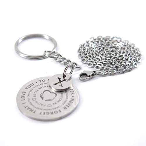 Inspirational Gift to Daughter I Love You Stainless Steel Dog Tag Necklaces Keychain Set with Samll Alphabet Initial Disc X (Set Key Chain)