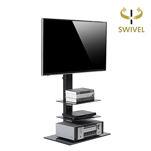 RFIVER Black Swivel Floor TV Stand with 3 Glass Shelves and Adjustable TV Height for 32-65 Inches Plasma LCD LED Flat Screen TVs-TF2002