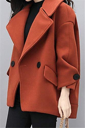 Bolsillos Botón Mujeres Chaqueta Solapa Sólido Battercake Laterales Outwear Bildfarbe Abrigos Manga Color Outerwear Mujer Anchos Larga Invierno De Casuales w7aaxIYrzq