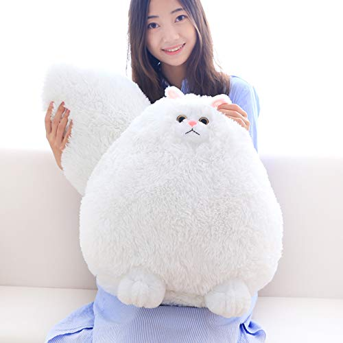 Winsterch Fluffy Giant Cat Stuffed Animal Toy White Plush Cat Toy Kids Gift Baby Doll,20 Inches -