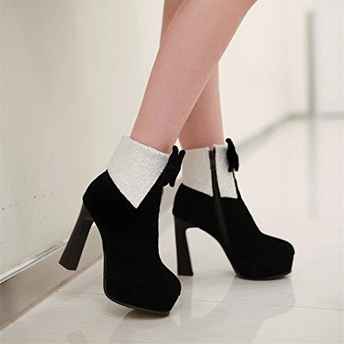 YE Womens High Heels Block Heel Platform Retro Designer Suede Ankle Boots with Bow Black ruk95krg