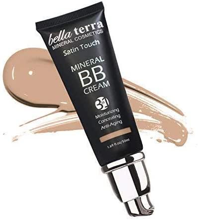 BB Cream Matte finish 3-in-1 Mineral Makeup Foundation - Tinted Moisturizer - Concealer - Satin touch - Light to Dark Skin Tones - Natural SPF - Hypoallergenic (1.69 Oz) - Light 102 by Bella Terra
