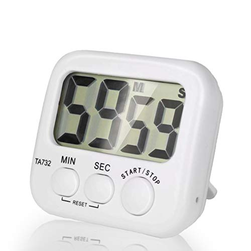 Borminy Digital Kitchen Timer, Large Screen Large Font Display, Magnetic Back Cooking Timer, Loud Alarm, Bracket, Simple Operation, White (Battery Included) ()