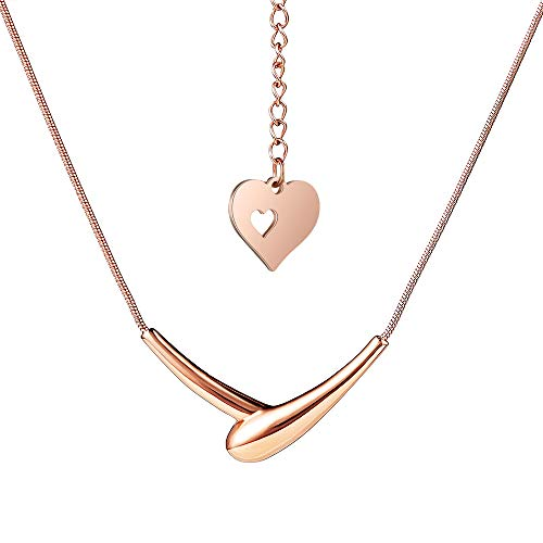 (HIXIN Fashion 316L Stainless Steel Necklace for Womens or Girls 18K Gold Vacuum Plated Adjustable Clavicle Chain Love Heart Shape Shake Hands Pendant Jewelry (Rose Gold))