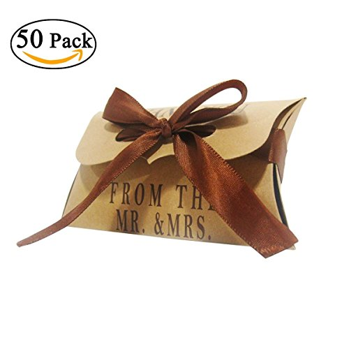 Kraft Paper Pillow Box,Wedding Favor Candy Box Gift Box With Ribbon,for Wedding, Baby Shower, Birthday Party (50Pcs)